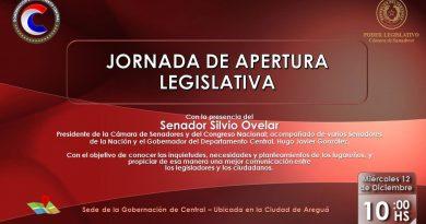 El gobernador del departamento Central, Hugo Javier González, invita a todos los interesados a participar de la Jornada de Apertura Legislativa